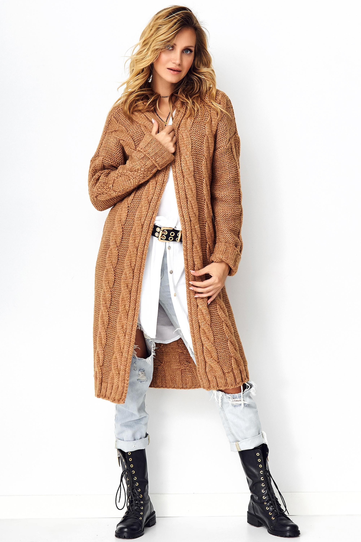 Langer Grobstrick Cardigan in Camel
